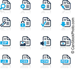 Documents Icons - 1 // Azure Series - Vector icons for your...