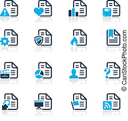 Documents Icons - 2 // Azure Series - Vector icons for your...