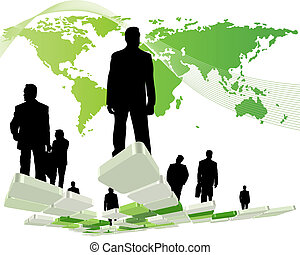 Worldwide business theme with silhouettes of man and map...