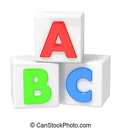 ABC Building Blocks on White Background - ABC Building...