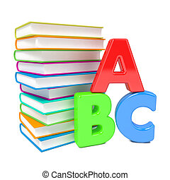 ABC Letters with Group of Books. Isolated on White.