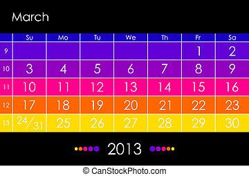 Vector calendar 2013 - March