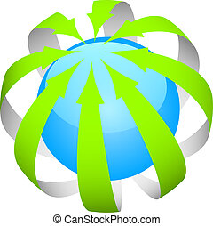 green arrows around the world - Vector icon of green arrows...