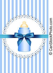 baby bottle and bow - Vector background with baby bottle and...