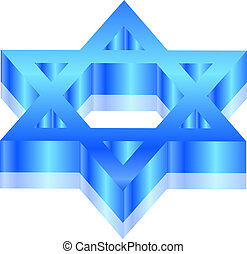 Magen David - Vector 3d illustration of Magen David star of...