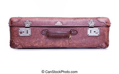vendimia, marrón, maleta, aislado