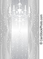 silver frame with chandelier - Vector silver frame with...