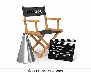 Movie industry. Producer chair, ?lapperboard and bullhornl.