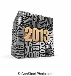 New year 2013.cube built from numbers. 3d