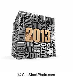 nouveau, année, 2013, cube, construit, nombres