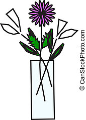 flowers in vase - vector illustration of flowers in vase