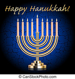 """Happy Hanukkah!"" - Vector ""Happy Hanukkah!"" blue wish card..."