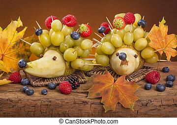 fruta, erizos