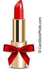 lipstick with bow - Vector illustration of red lipstick with...