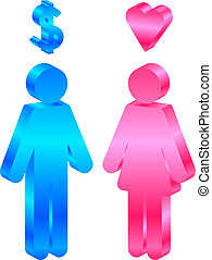 man and woman - Interests - vector icon of man and woman