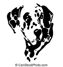 dog - a black silhouette of a dog on a white background