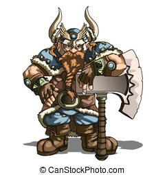 dwarf - a strong fighting the dwarf in a helmet with a great...