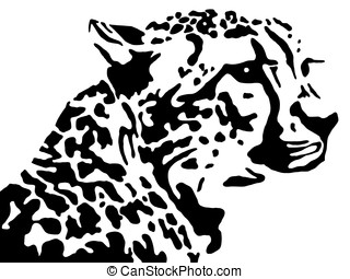 leopard - the black silhouette of a leopard on a white...