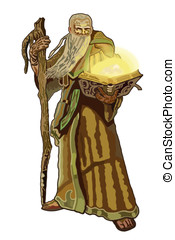 mage - the wise magician with his staff reads the magic book