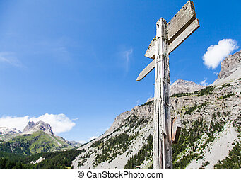 Direction Sign - Italian Alps, close to Bardonecchia town...