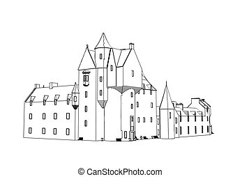 Castle House sketck at engraving style. Vector illustration.