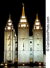 Mormon Temple - Mormon temple of Salt Lake city illuminated...
