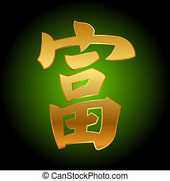 good fortune Feng Shui - Vector chinese character of good...