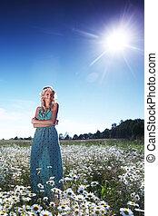 girl in dress on the daisy flowers field - beautiful girl in...