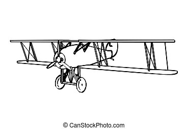 Silhouette of old biplane, engraving. Vector illustration.