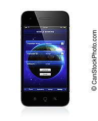 Mobile banking - 3D illustration of modern smartphone with...