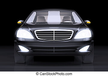 Front side view of black prestige car