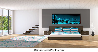 Modern interior of a bedroom - 3D render of modern bedroom
