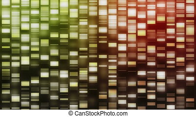 Strands of DNA falling - Strands of green, red and orange...