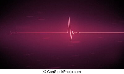 Pink heart monitor line with moving