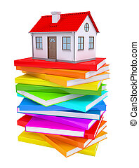 A small house on a stack of colorful books Isolated render...