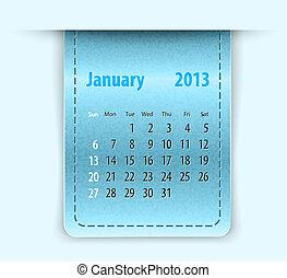 Glossy calendar for january 2013 on leather texture. Sundays...