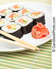 Sushi on the white plate - Sushi rolls on the plate with...