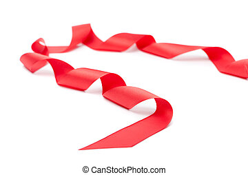 Spiral red ribbon, isolated on white Symbol of party and...