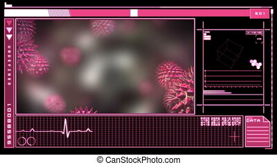 Medical interface showing virus - Medical digital interface...