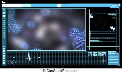 Digital interface showing virus - Medical digital interface...