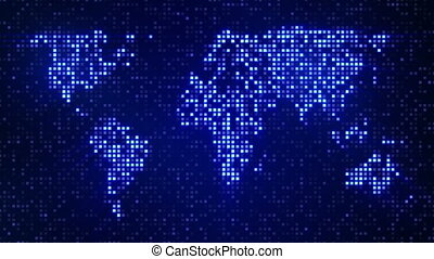 digital blue world map loop - digital pixelated blue world...