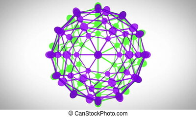 Revolving connected sphere - Revolving green and purple...