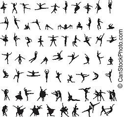 jogo, silhuetas, balé, dançarino