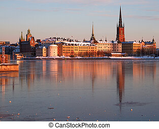 Riddarholmen, Stockholm in winter - The island Riddarholmen...
