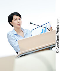 Woman presenter at the board - Female executive at the...