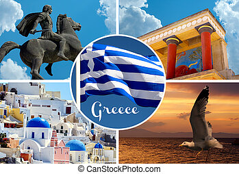 Set of architecture and historical  places in Greece