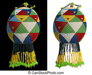 Beaded Ostrich Egg - Ostrich egg decorated with multicolored...