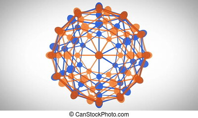 Revolving connected sphere - Revolving orange and blue...
