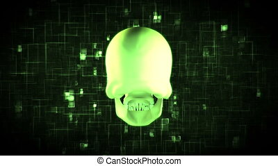 Revolving green skull on moving black and green background