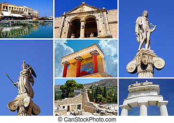 Set of greek historical citys Athens and Crete island